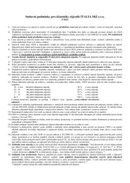 Smluvní podmínky pro účastníky zájezdů CK ITALIA SKI