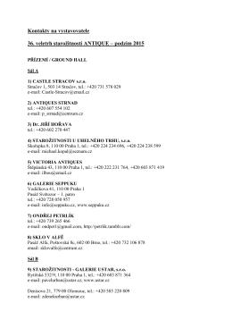 Kontakty na vystavovatele – veletrh ANTIQUE – podzim 2015