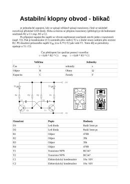 Astabilní klopny obvod - blikač