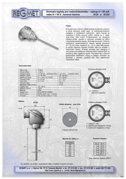 Snímače teploty pro vzduchotechniku - výstup 4 ÷ 20