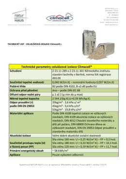 Technické parametry celulózové izolace Climacell®