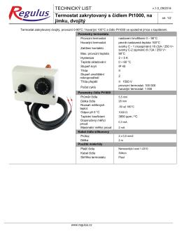 Technický list termostat zakryt. s čidlem Pt1000