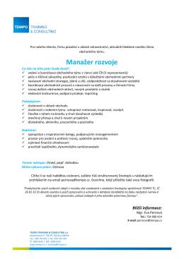 Manažer rozvoje - Tempo Training Consulting