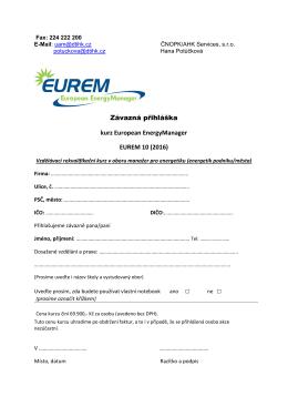 Přihláška do kurzu Manažer pro energetiku EUREM