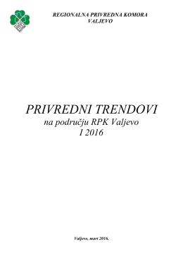 Privredni trendovi Regije - Regionalna privredna komora Valjevo