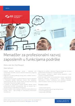 Menadžer za profesionalni razvoj zaposlenih u funkcijama