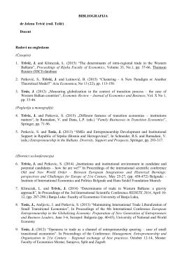 BIBLIOGRAFIJA dr Jelena Trivić (rođ. Tešić) Docent Radovi na