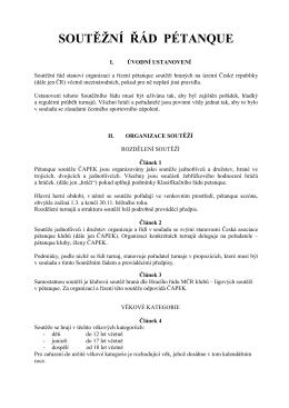 SOUTĚŽNÍ ŘÁD PETANQUE - Česká asociace pétanque klubů