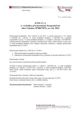 Zpráva o výsledku přezkoumání hospodaření za rok 2014