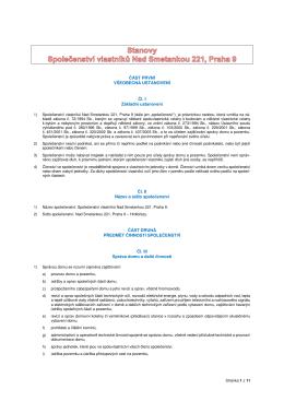 Stanovy SVJ Nad Smetankou 221 (platné znění)