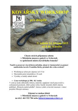 Kovářský workshop 14.3.2015 pro dospělé