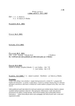 č. 40 P l á n   p r á c e v týdnu od 25. 5. – 29. 5. 2015 ŠvP – 1. A – A