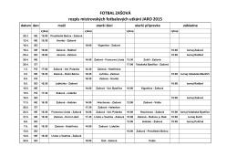 FOTBAL ZAŠOVÁ rozpis mistrovských fotbalových utkání JARO 2015