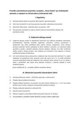 Pravidla zastavitelnosti individuálních pozemků