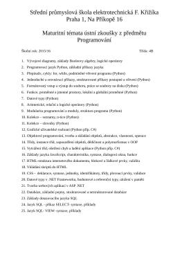 U  - VOŠ a SPŠ elektrotechnická Františka Křižíka