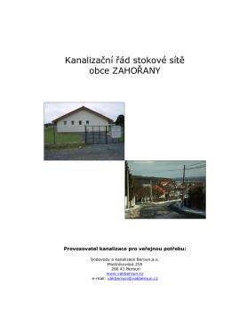 Kanalizační řád stokové sítě obce ZAHOŘANY