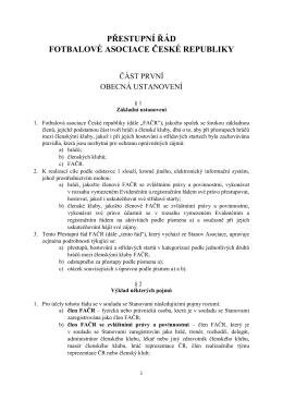 3. PŘESTUPNÍ ŘÁD - ve znění změn schválených VV FAČR dne 6