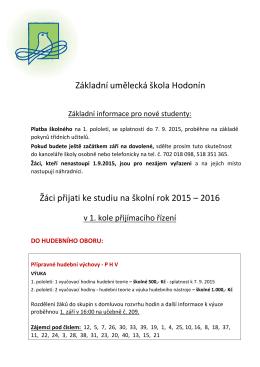 Přijatí žáci pro 2015-16 - Základní umělecká škola Hodonín