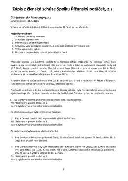 Zápis z členské schůze Spolku Říčanský potůček, z.s.