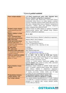 Výzva k podání nabídek - Základní škola Ostrava, Matiční 5