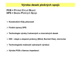 DPS – technologie výroby