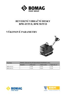 BPR 45/55 D, BPR 50/55 D Výkonové parametry