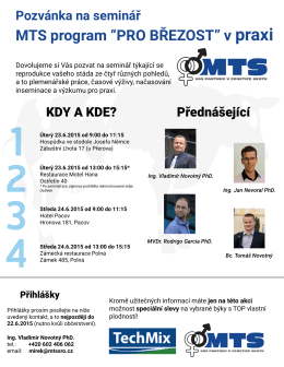 """Pozvánka na seminář MTS program """"PRO BŘEZOST"""" v praxi"""