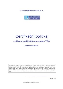 Certifikační politika - První certifikační autorita, a.s.
