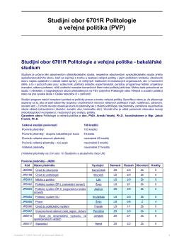 Studijní obor 6701R Politologie a veřejná politika (PVP)