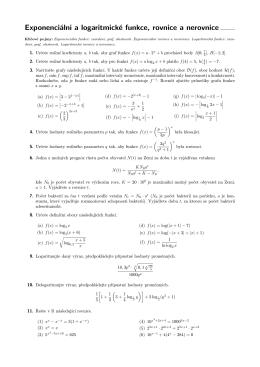 Exponenciální a logaritmické funkce, rovnice a nerovnice