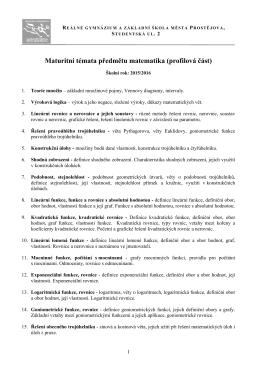 Matematika - Reálné gymnázium a základní škola města Prostějova