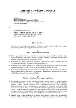 Smlouva o výkonu funkce předsedy představenstva 10/2015