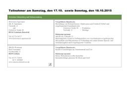 Teilnehmer am Samstag, den 17.10. sowie Sonntag, den 18.10.2015