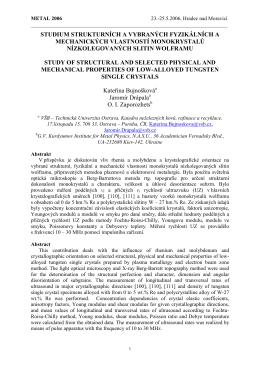studium strukturních a vybraných fyzikálních a mechanických