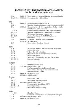 Plán činnosti na rok 2015/2016