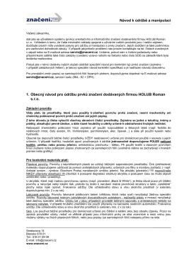 15-10-15 Obecný návod pro údržbu a manipulaci značení