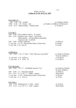 P l á n   p r á c e v týdnu od 19. 10. do 23. 10. 2015 P O N D Ě L Í : 9