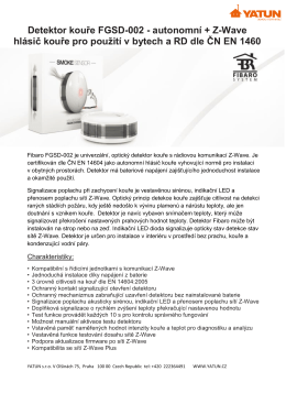 Detektor kouře FGSD-002 - autonomní + Z-Wave hlásič