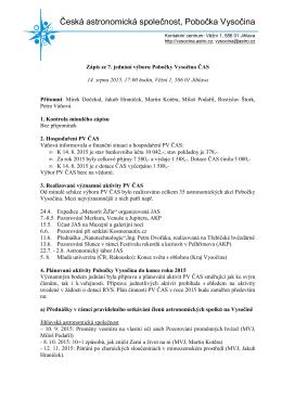 14. srpna 2015, Jihlava - Pobočka Vysočina České astronomické