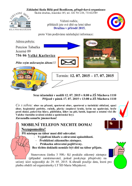 Letní tábor ŠD 2015 - ZŠ Bělá pod Bezdězem