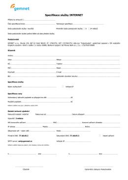 Specifikace služby INTERNET