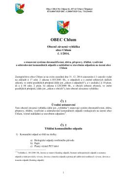 Obecně závazná vyhláška obce Chlum č. 1/2014, o stanovení