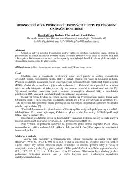 hodnocení míry poškození listových pletiv po působení oxidačního