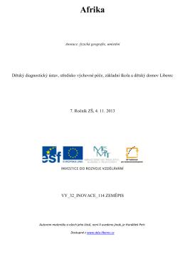 Afrika - Dětský diagnostický ústav a SVP Liberec