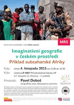 Imaginativní geografie v českém prostředí Příklad subsaharské Afriky