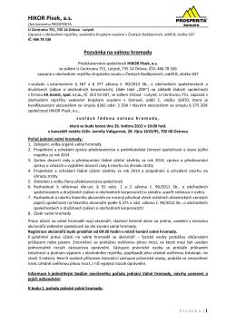 Pozvánka na valnou hromadu akcionářů HIKOR Písek, a.s. 26.5.2015