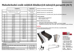 Maloobchodní ceník vnějších hliníkových tažených parapetů (ALT)