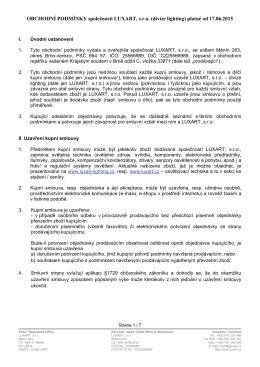 OBCHODNÍ PODMÍNKY společnosti LUXART, s.r.o. (divize lighting