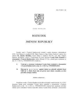 Rozsudek jménem republiky – plné znění