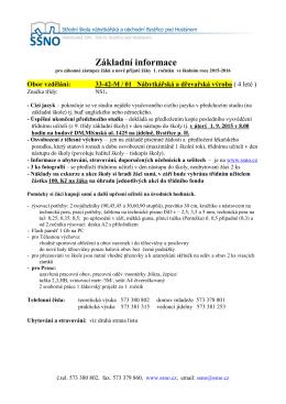 Informace pro 1. ročník obor Nábytkářská a dřevařská výroba